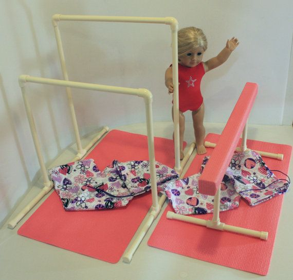 Balance Beam & Uneven Bars Gynmastics Set for American Girl Doll or 18 inch Doll with Mats and Carry Bags