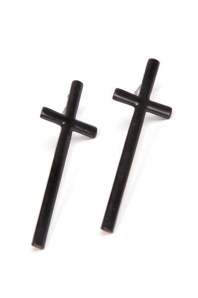 Fabulous statement oversized cross earrings. Black Zinc Alloy