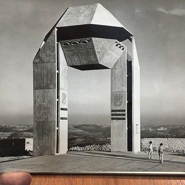 archs A+E Sharon, Harel Brigade Memorial, Har Adar settlement, late 1960s, photo by Ran Erde