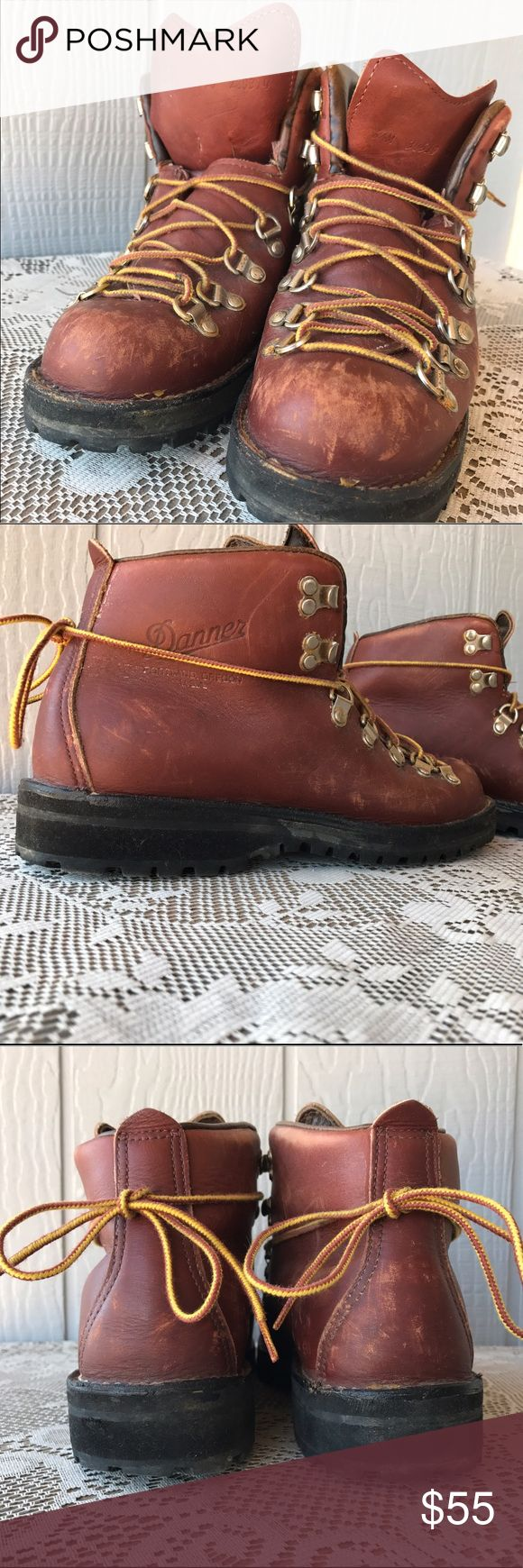 Vintage Leather Danner Hiking Boots These women's hiking boots show normal wear and scuffing from their travels. Extremely solid and well constructed boots. Vibram Lug soles for extra traction. Really cool boots for adventuring or trendy daily wear! Danner Shoes Winter & Rain Boots