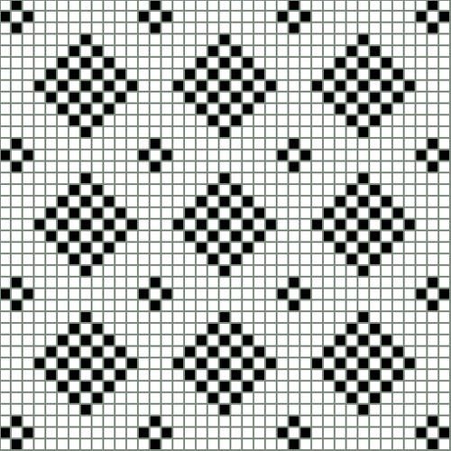Chart Showing A Bit More Than Three Repeats of the Checkered Diamond Design