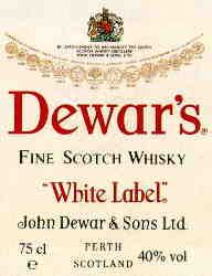 Tasting comment : Dewar's White Label, the bestselling Scotch whisky in the USA, has a slightly smoky aroma and a complex, delicate malty flavour with a clean, dry finish. Description from awa.dk. I searched for this on bing.com/images