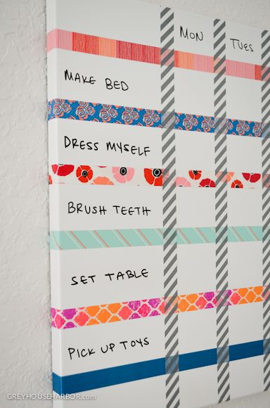 Washi Tape Kids / niños DIY Chore Chart ~ using washi tape & dry erase board!