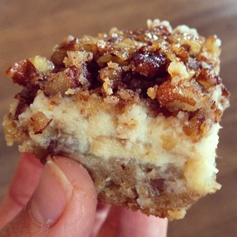 Pecan Cheesecake Squares - Tee's Tasty Treats - shortbread layer : 1 1/2 c all-purpose flour, 3/4 c firmly packed light brown sugar, 1/2 c butter softened, 1/2 c finely chopped pecans. Cheesecake layer: 2 (8-ounce) pkgs cream cheese softened 1/2 c sugar, 1/2 c milk, 2 teaspoons vanilla. Pecan pie layer: 3/4 c firmly packed brown sugar, 1/2 c light corn syrup, 1/3 c butter melted & cooled slightly, 3 large eggs lightly beaten, 1/4 teaspoon salt, 1/2 teaspoon vanilla, 1 1/2 c pecans