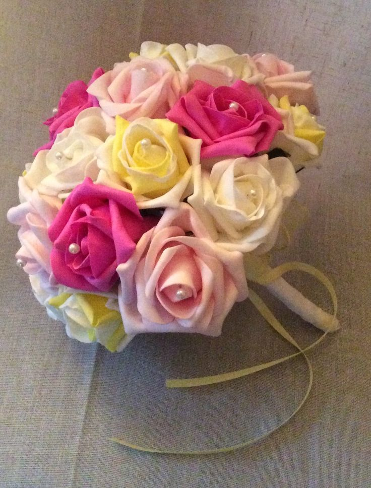 Poly foam multi coloured roses bouquet by Cathey's flowers