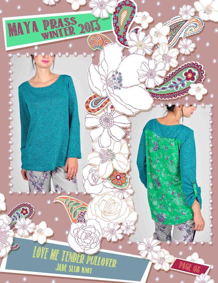 Love-me-Tender pullover jade melange cut & sew knit