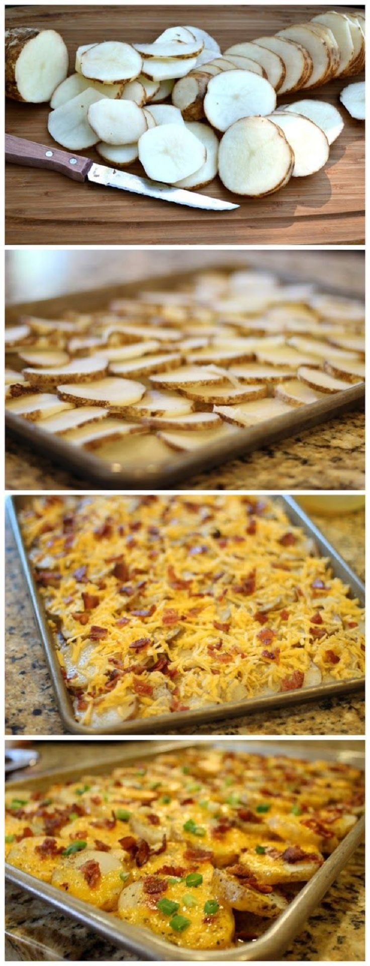 Cheesy Bacon Potato Bites - Boil sliced potatoes for 5 minutes, layer on sprayed sheet, top with cheese and bacon, bake at 375 for 15 minutes, top with green onion.