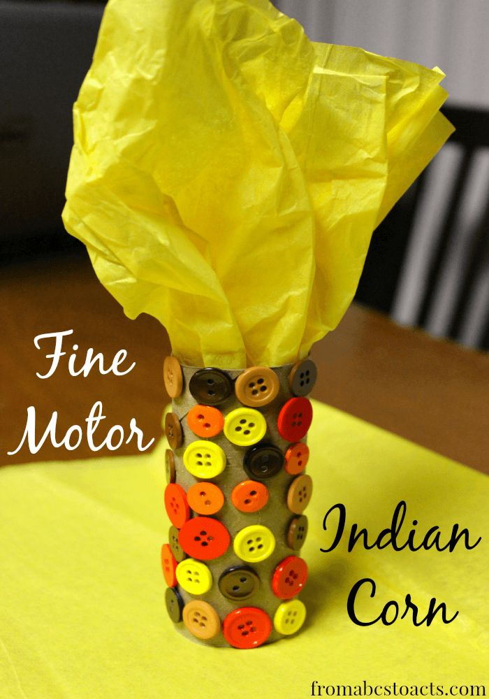 Have some fine motor fun while decorating for Thanksgiving with this Fine Motor Indian Corn craft for kids on From ABCs to ACTs!