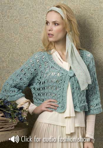 NaturallyCaron.com :: Barcelona Jacket- Free pattern   /  done up in that Tiffany blue colour