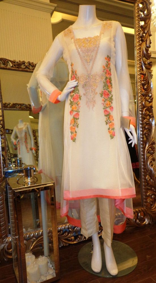 Buy White Embroidered Chiffon Dress by Threads and Motifs Collection 2015.