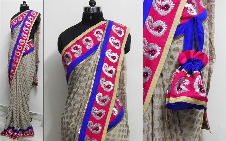 For Sale Brocade golden touch Price - Rs 4990 Georgette Brocade fabric with self gold circles pattern, enhanced with pink paisley embroidery border and blue and beige piping.    This saree comes with elegant matching Potli handbag as in picture.   Blouse - Silk cotton Pink/ Blue color as per border   For booking your saree please Email us with Saree name to sales@aaenadesign.com or call us on +91 9167625956