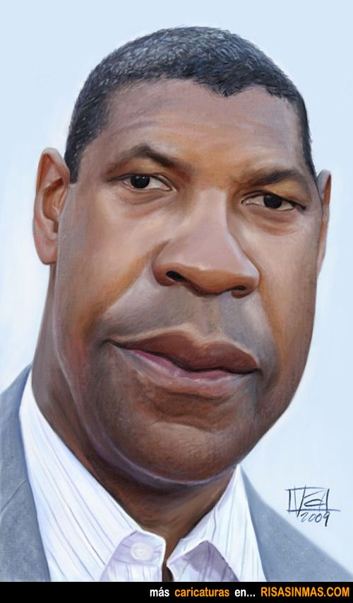 Caricatura de Denzel Washington.