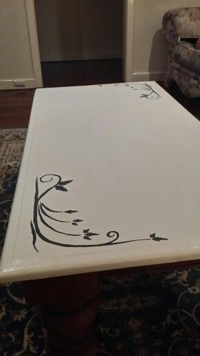 Gave my coffee table a new lease of life with a quick coat of paint and a stencil.