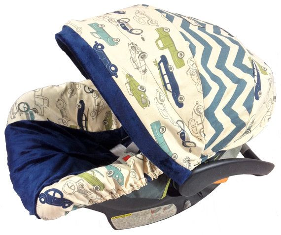 Denim Chevron Classics  Boy Baby Seat Cover,  Baby Car Seat Cover with Matching Neck Strap Set on Etsy, $94.00