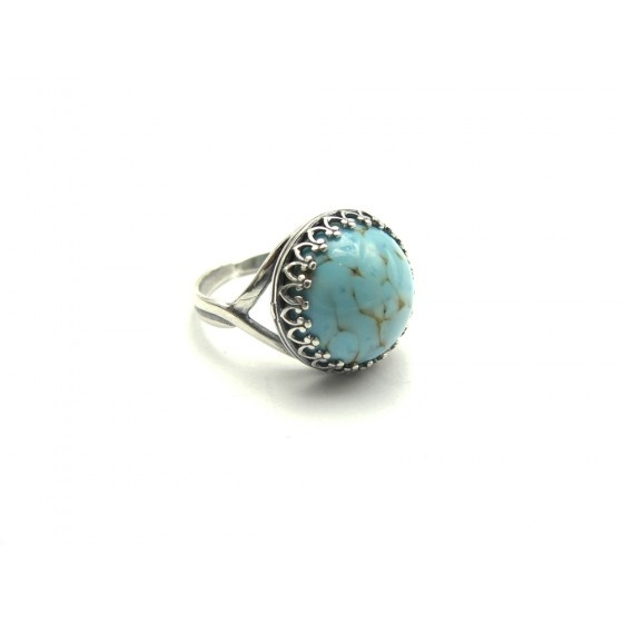 Sterling Silver Ring With Vintage Turquoise Matrix Stone - Vintage Inspired Jewellery By Zara Taylor