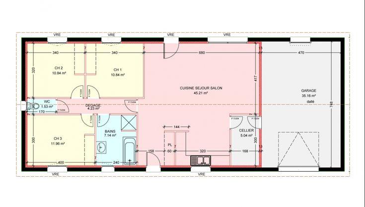 plan de maison plein pied gratuit 3 chambres | household ... - Plans Maison Plain Pied Gratuit