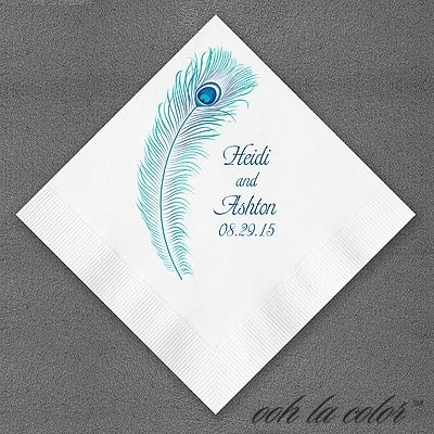 Peacock Feather Personalized Paper Wedding Napkins Imprinted With Design And Names Date Of