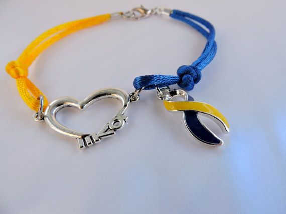 Down Syndrome Cord Bracelet with Ribbon Charm and by SANDJHOTSHOTS