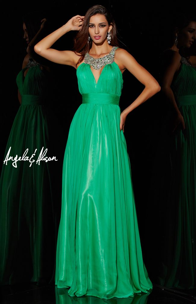 Style 51085 Illusion halter neckline with empire waist and long skirt. comes in several colours. perfect for prom, homecoming, pageants or formal events.