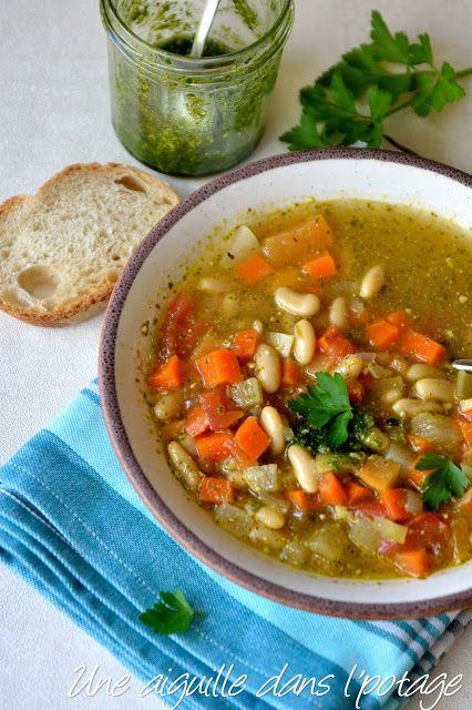 une aiguille dans l' potage: Minestrone aux haricots blancs et pesto de persil