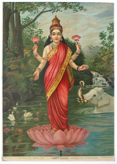 Laxmi by Ravi Varma Press - Vintage Poster (Two Versions) - Old Indian Arts