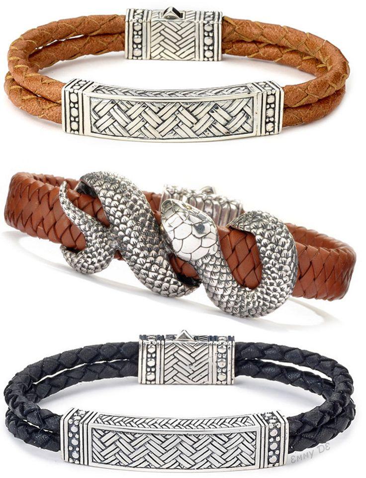 Emmy DE * Samuel B. Silver Men's Leather Bracelets