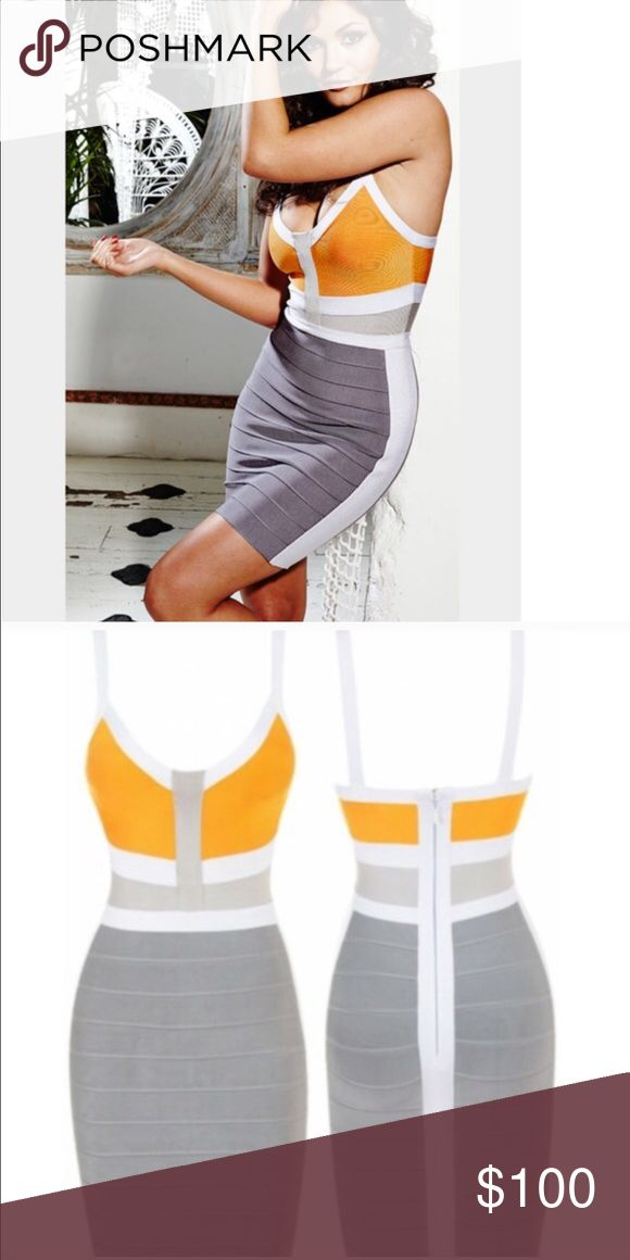 Orange Gray White Bandage Dress Purchased from Bleu Luxury, NWT, true to size! No trades/ Open to reasonable offers. bleu luxury Dresses Mini