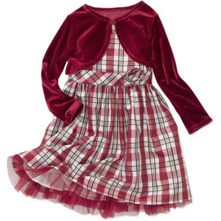 George - Baby Girls' Holiday Dress with Shrug, Red