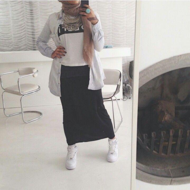 Lifelongpercussion   Nike air force ones, black skirt, shirt, statement necklace. Muslimah fashion