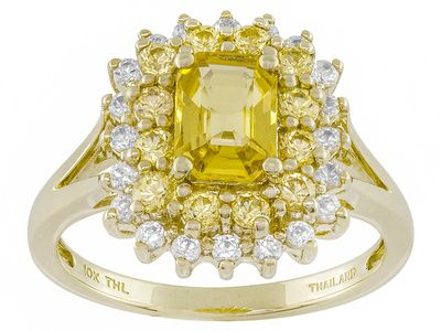 1.43ctw Emerald Cut And Round Yellow Chanthaburi Sapphire With .36ctw White Zircon 10k Gold Ring