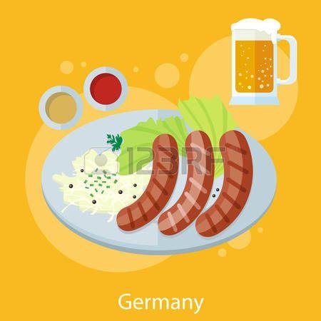 Conjunto de los alimentos y de diseño Oktoberfest alemania elementos