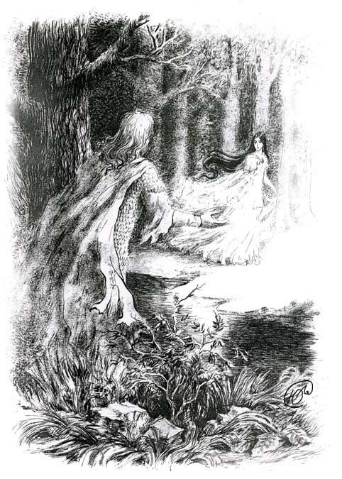 """""""But she vanished from his sight; and he became dumb, as one that is bound under a spell, and he strayed long in the woods, wild and wary as a beast, seeking for her. In his heart he called her Tinuviel, that signifies nightingale, daughter of twilight, in the elven-grey tongue, for he knew no other name for her."""""""