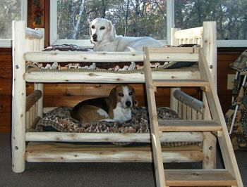 For Dogs That Love A Rustic Aesthetic!  Luxury Log Dog Beds and Other Log Furniture - Custom Crafted Pet Feeders