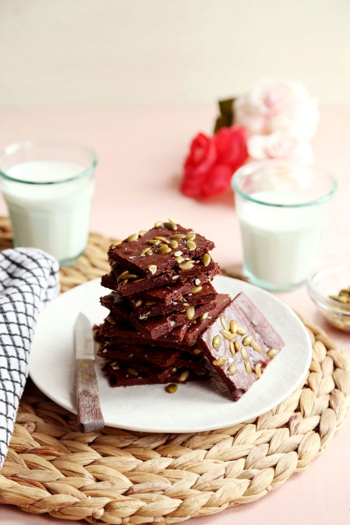 Very Thin Cacao Brownies With Salted Pumpkin Seeds Recipe