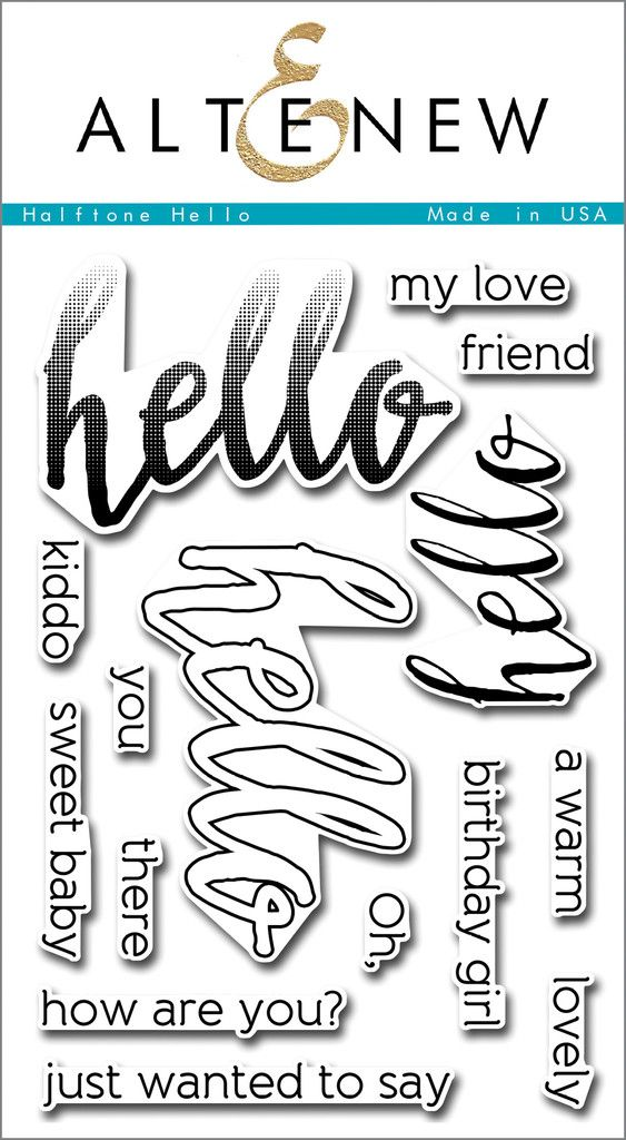 Halftone Hello $15 -- love the ombre-effect stamp and the outline one that can be used alone or with solid stamp