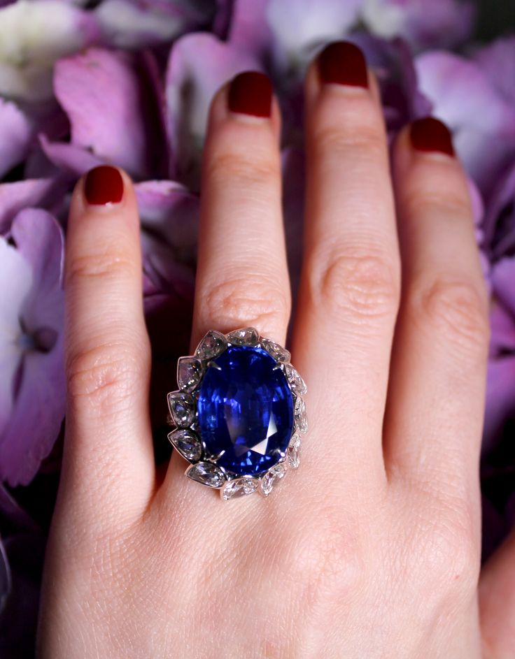 David Morris Ceylon sapphire engagement ring, similar to Princess Diana and Kate Middleton. Surrounded by pear shaped white diamonds set in white gold. Proposal idea? With purple tinged hyacinths. http://www.thejewelleryeditor.com/bridal/article/sapphire-engagement-rings-number-one-coloured-gem/ #wedding