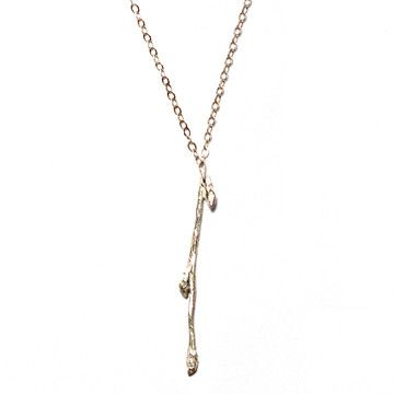 Merdia Long Chain Necklace for Women Twig and Leaves Pendant Sweater Necklace LKYQVH