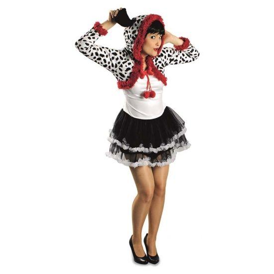 Compleet dalmatier verkleedkostuum voor dames. Het kostuum bestaat uit wit topje met aangehechte tutu en een bolero met capuchon met oortjes. Materiaal: 100% polyester.