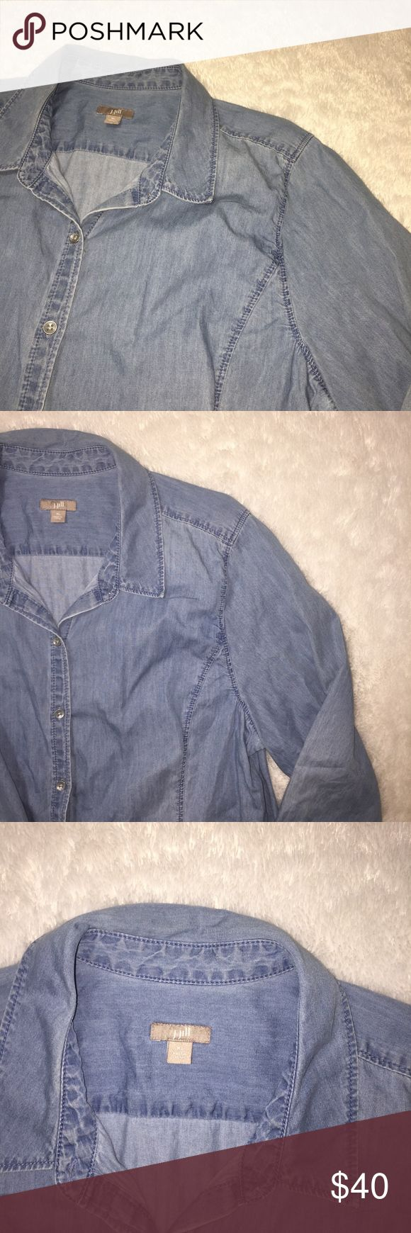 {J.Jill} Womens Denim long sleeve shirt button up Great condition and perfect for any and all occasions. J. Jill Tops Button Down Shirts