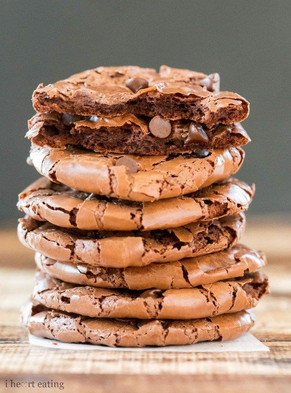 Flourless Fudge Cookies: 3 c. powdered sugar, 3/4 c cocoa powder, 1/4 tsp salt, 4 large egg whites, 1 Tbsp pure vanilla, 1/2 c semisweet mini chocolate chips