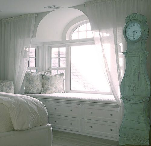 window seat, dresser in a bedroom, way cute.: Window Benches, Dreams Home, Dreams Houses, Bedrooms Window, Attic Spaces, Master Bedrooms, Window Seats, Grandfather Clocks, Bays Window