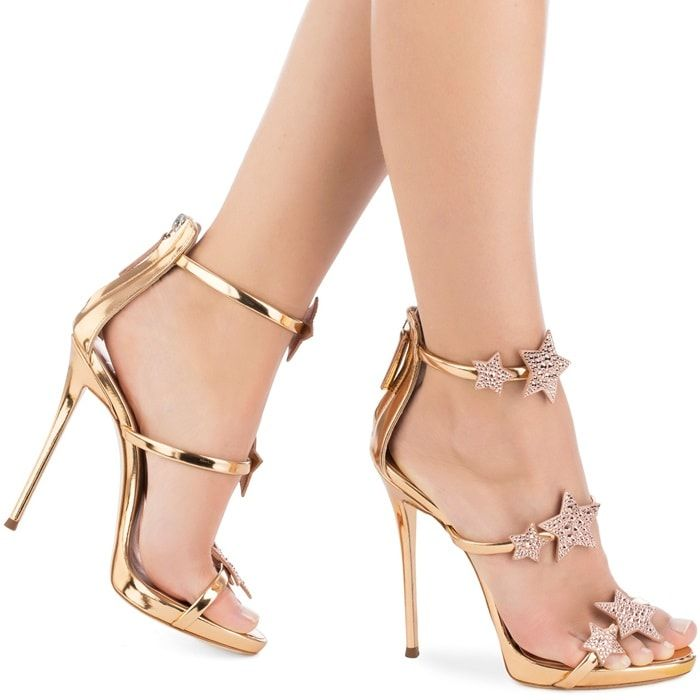 6887a6bdaae6 Giuseppe Zanotti  Harmony Star  rose gold sandal with three straps and stars