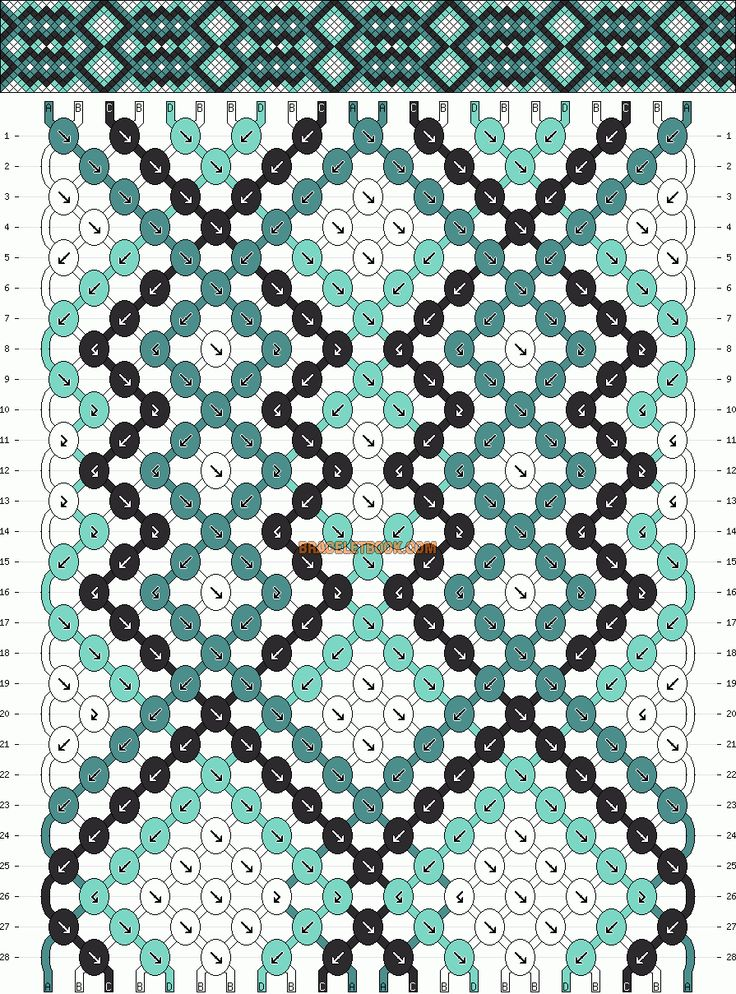 Normal Friendship Bracelet Pattern #7452 - BraceletBook.com