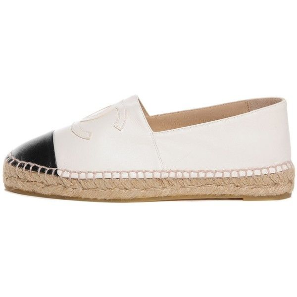 CHANEL Lambskin Espadrilles 37 White Black ❤ liked on Polyvore featuring shoes, sandals, espadrilles shoes, slim shoes, black and white espadrilles, cap toe shoes and chanel footwear