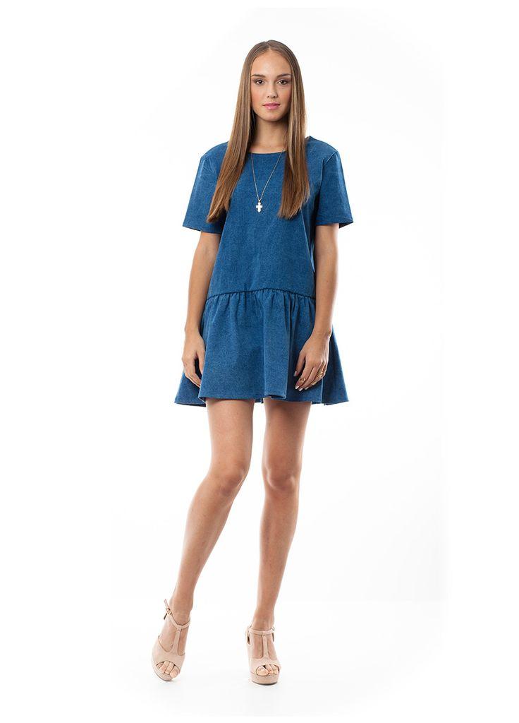 Denim Dress with Open Back. Find it online www.disu.gr
