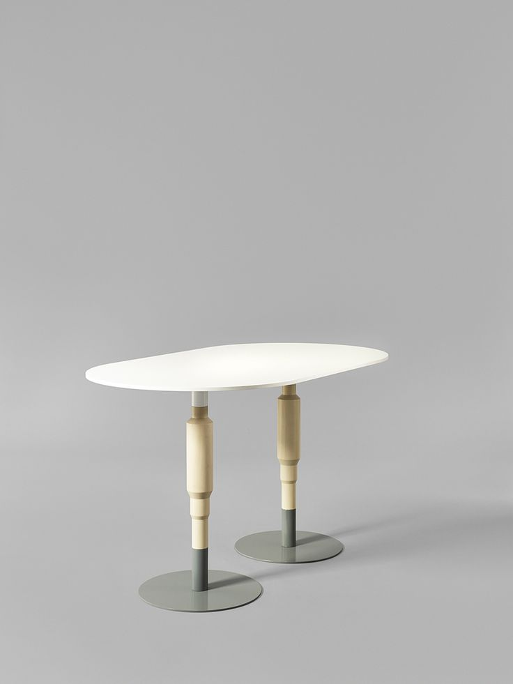 Minus tio - Cosmos 2X 730mm wood pedestal table in clear lacquered birch with grey base