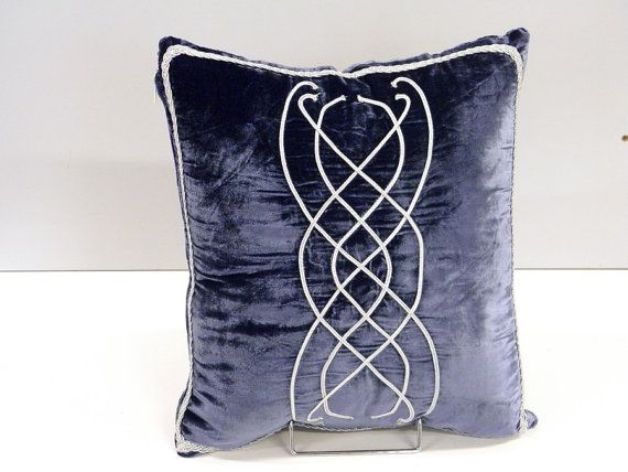 Lord of the Rings inspired pattern on Pillow cover,  blue Velvet hobbit gift Gothic middle earth decoration
