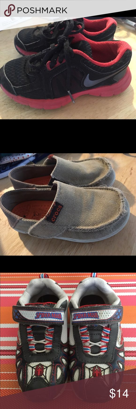 4 pairs of toddler boy shoes, size 10 & 10.5! 4 pairs of toddler boy shoes, size 10 & 10.5. Brands include Nike, Crocs, Stride Rite(Star Wars) and Buster Brown(Spider-Man). These are in good play condition, still have life left in them! Great for the playground, daycare or romping around outside. Price is for all 4 pairs! 20% off bundles of 2 more more items through 4/30/17! Nike Shoes Sneakers