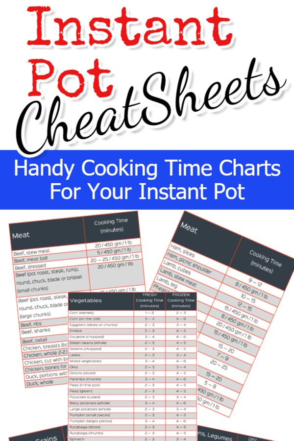 Instant Pot Cooking Times Free Cheat Sheets For June