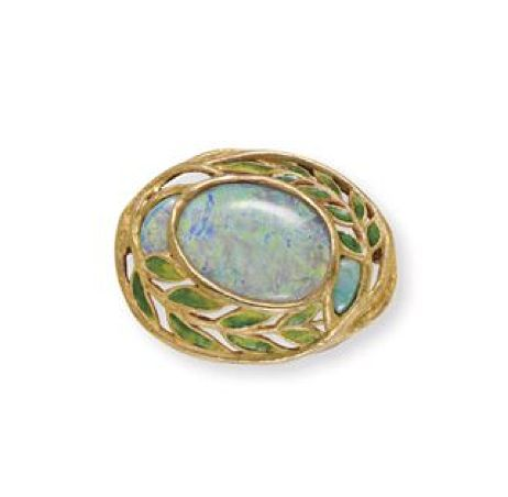 AN ART NOUVEAU OPAL, ENAMEL AND GOLD BROOCH, BY LOUIS COMFORT TIFFANY, TIFFANY & CO.  Centering upon a bezel-set oval opal, flanked on either side by a smaller opal, to the openwork green enamel leaf and sculpted gold surround, mounted in gold, circa 1905  By Louis Comfort Tiffany, signed Tiffany & Co.